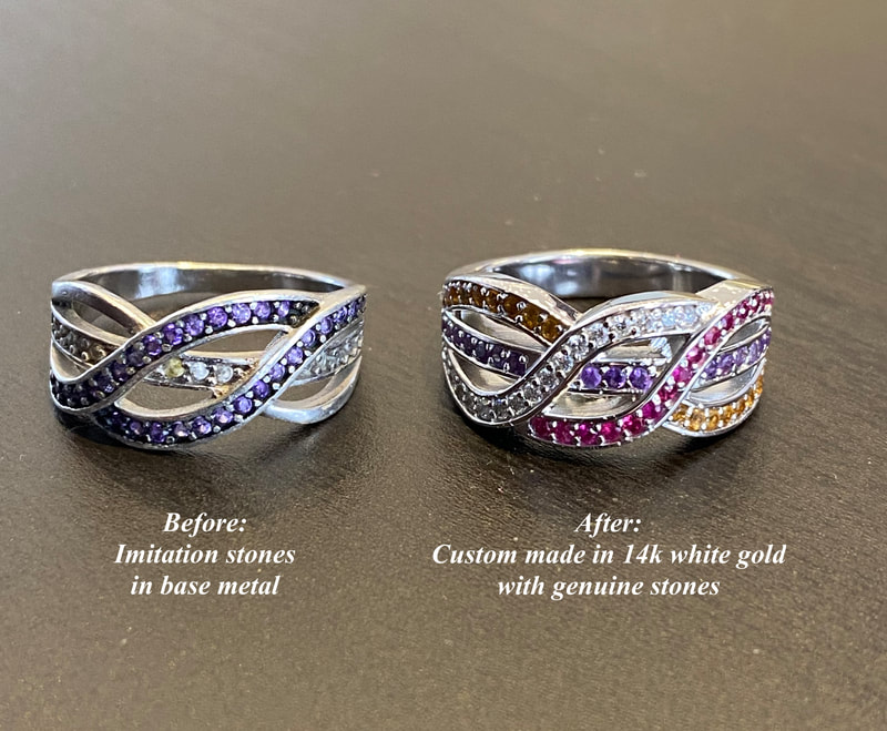 Costume jewelry remade using genuine stones in 14k white gold.